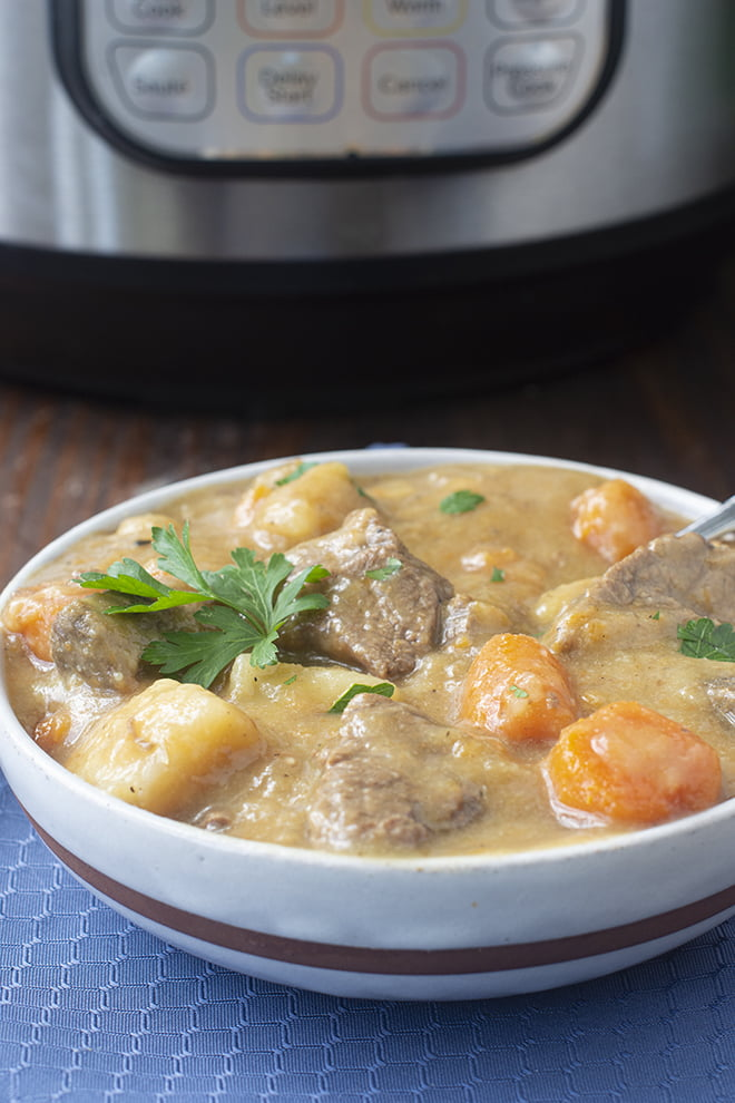 This Instant Pot Beef Stew with carrots and potatoes is so delicious and cozy, and perfect for when you need a slightly quicker stew.