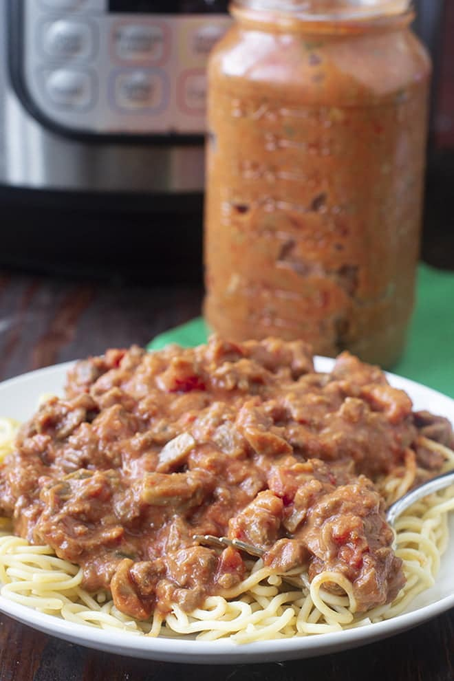 Make a big batch of Instant Pot Spaghetti Sauce for a flavorful pasta sauce that takes less than an hour.