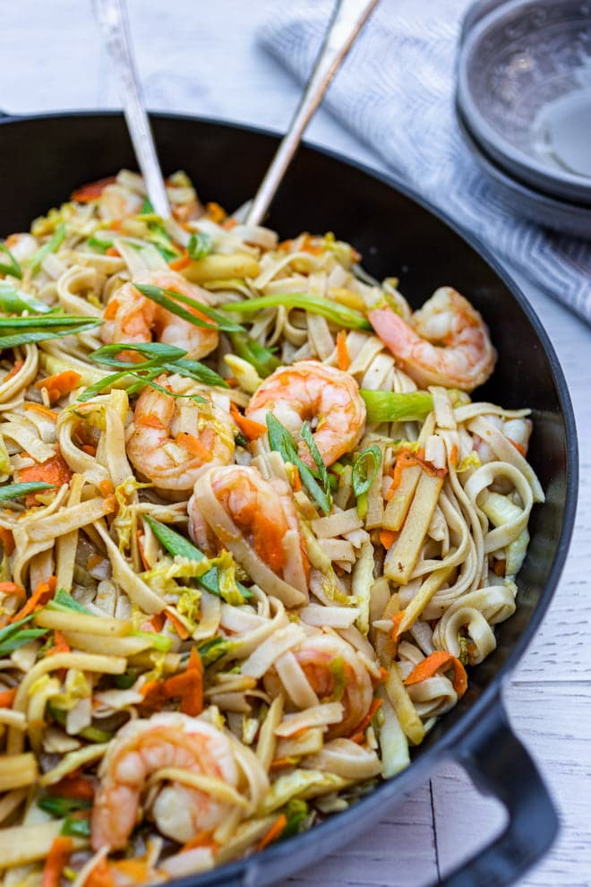 As good as take out, this easy Shrimp Lo Mein recipe is filled with juicy shrimp, colorful vegetables, and tender noodles bathed in a mouthwatering sauce.