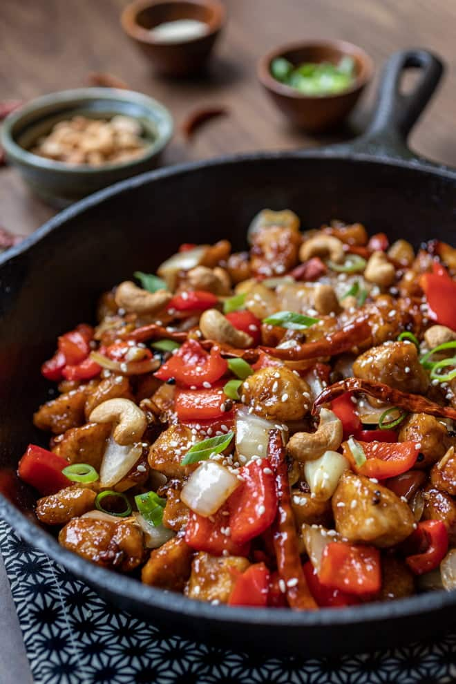 This easy recipe for Szechuan Chicken is filled with spicy bites of chicken, bright, colorful vegetables, and a delectable sauce that's a perfect balance of sweet, savory, and spicy.