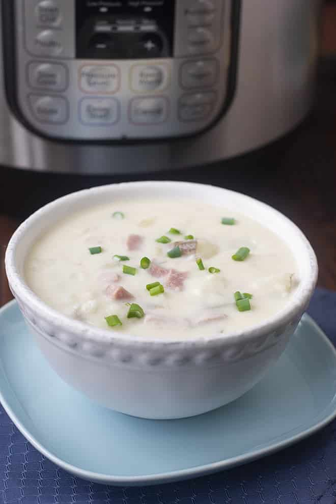 Making Ham and Potato Chowder in the Instant Pot is simple and ready in about half and hour. Enjoy this cozy homemade soup any day of the week!