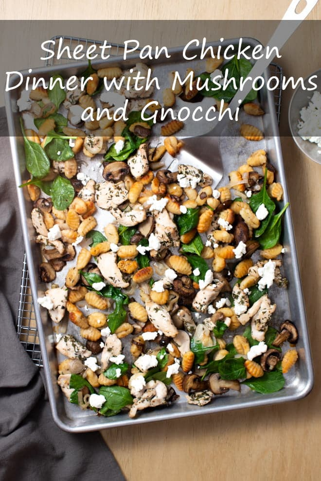 Sheet Pan Chicken Dinner with Mushrooms and Gnocchi