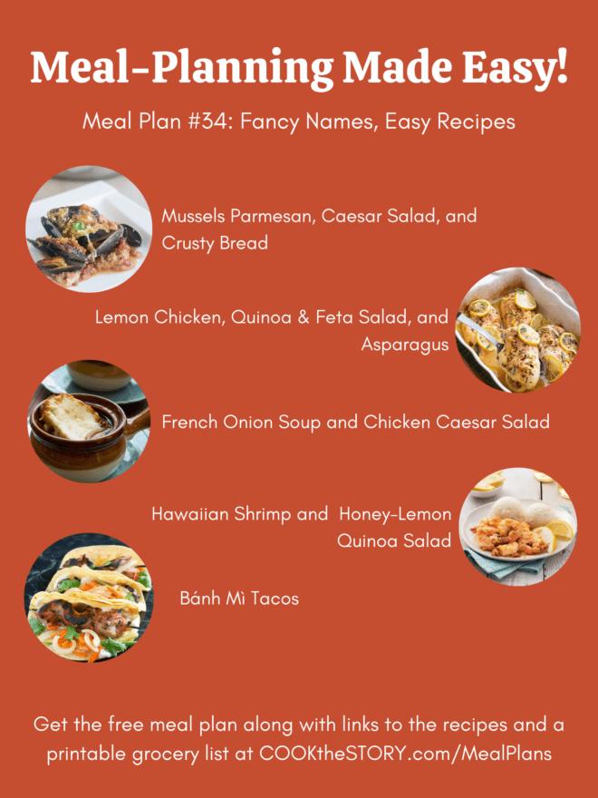 An orange background with the images and names of the meals from the below meal plan