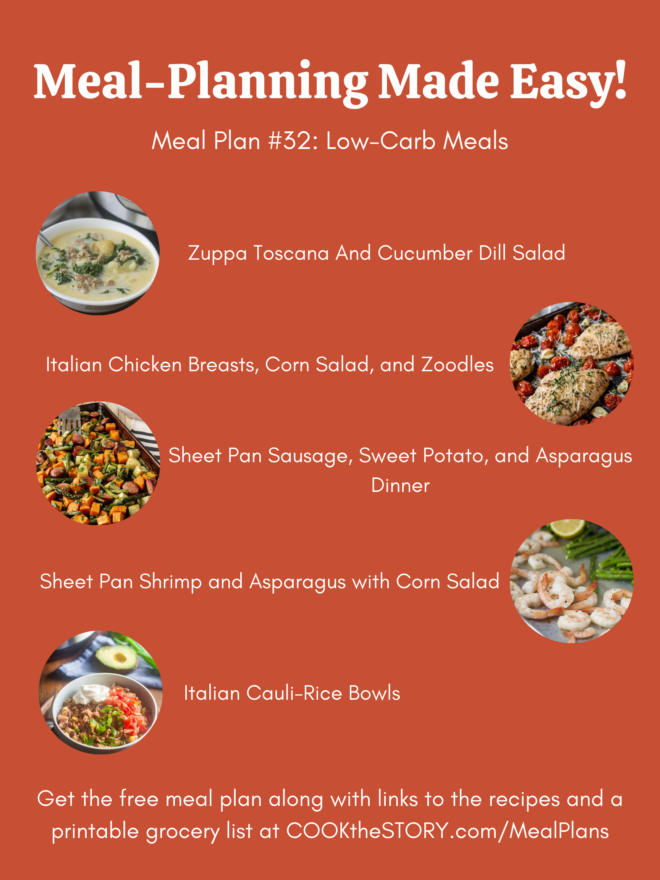 An orange background with images and names of the meals from the meal plan below.