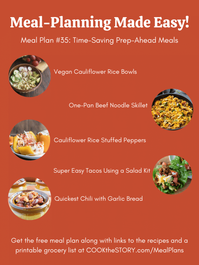 An orange background with the images and names of the meals from the below meal plan.