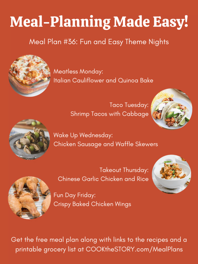 An orange background with small circular images of the meal plan meals and the names of the meals on it.