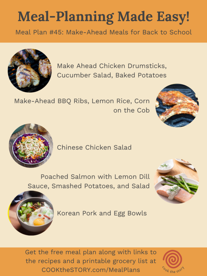 Meal Plan #45 with thumbnail images of recipes and recipe titles.