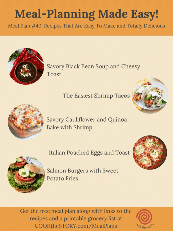 An orange and beige graphic with the list of recipes for the week and small pictures of each one. The list of recipes with links is given fully in text below.